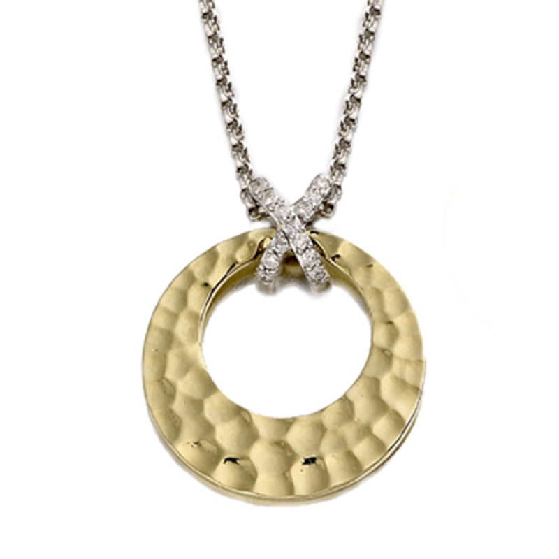 9ct Hammered Yellow Gold  White Gold Diamond Circle Necklace.