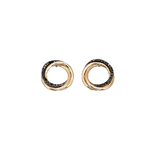 9ct Yellow Gold Black Diamond Open Circle Earrings