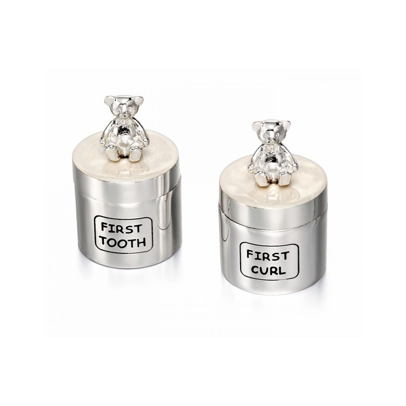 D for Diamond Silver Plated Teddy Bear Tooth  Curl Pots