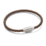 Fred Bennett Stainless Steel Brown Leather Magnetic Bracelet