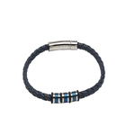 Unique Blue leather bracelet with steel elements and blue IP plating 21cm