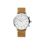 Kronaby Nord41 Gents Hybrid-Smartwatch Stainless Steel case, white dial, brown suede leather strap