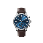 Kronaby Sekel41 Gents Hybrid-Smartwatch blue face, round stainless steel case and brown leather strap