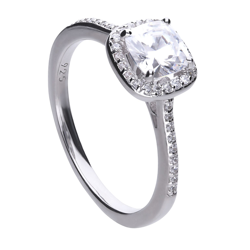 Ring silver with white Diamonfire zirconia, square ring head and PAVÉ setting