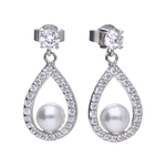 Pearl earrings with white shell pearls, white Diamonfire zirconia and teardrop shape. Total ca 1.1 ct