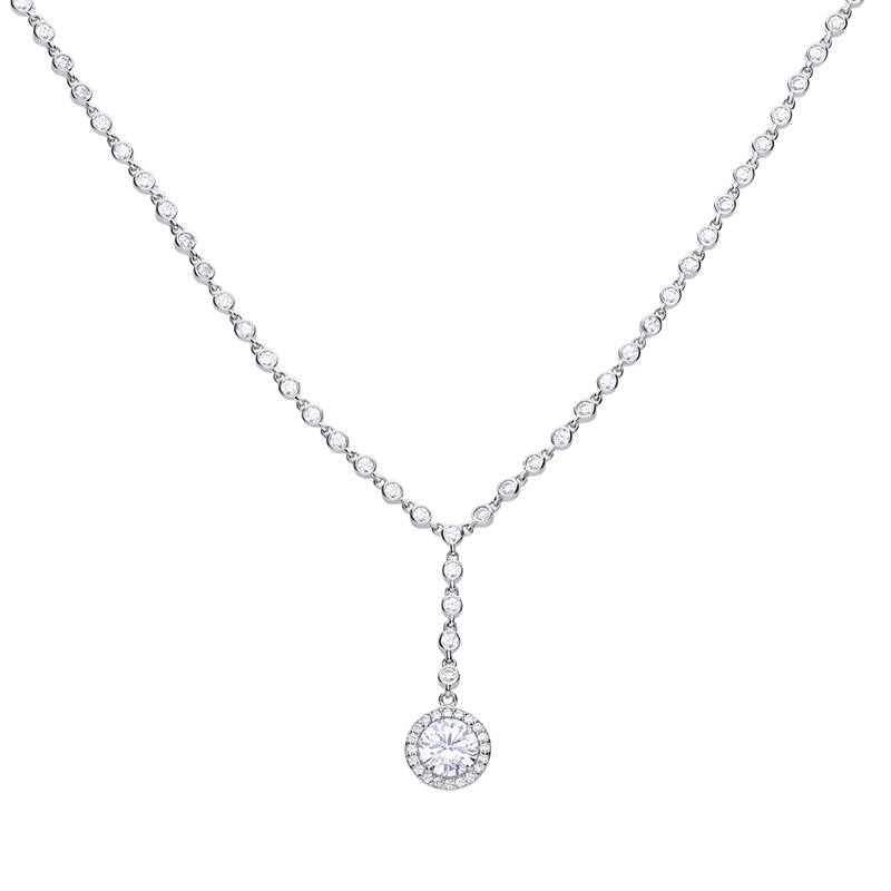 Y- collier silver with white Diamonfire zirconia and pave setting. Total ca 3.65 ct