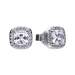 Square ear studs silver with white Diamonfire zirconia and PAVÉ setting