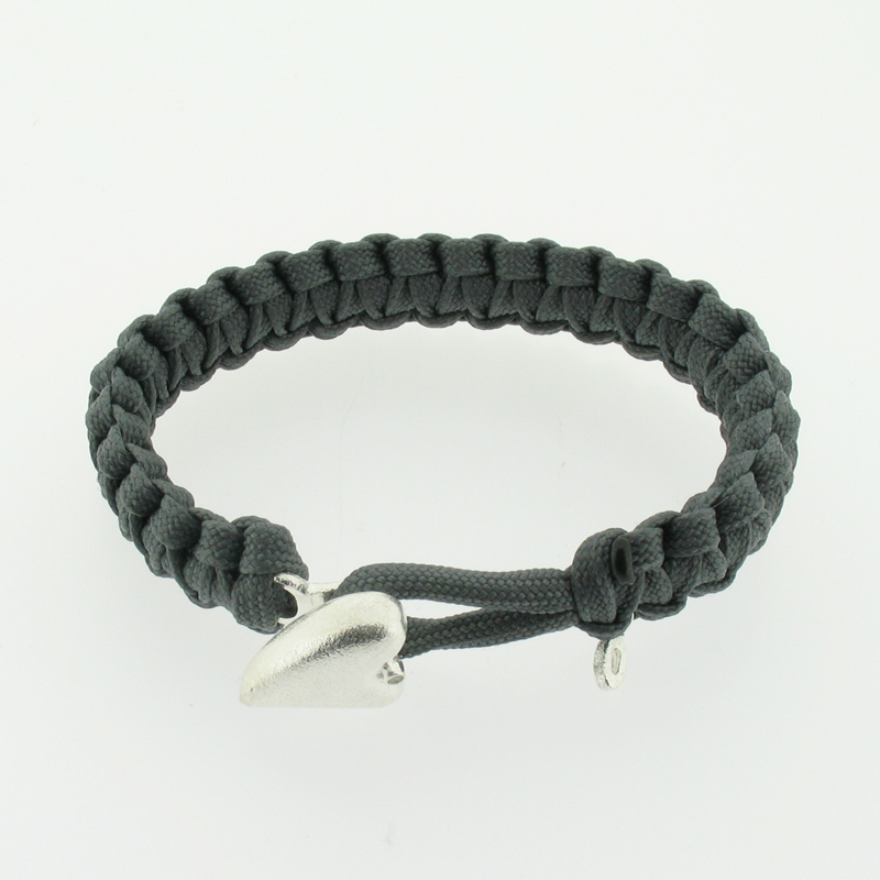 Soldier To Soldier From Lovelinks Grey Woven Parachute Cord Bracelet With Silver Heart Clasp - 07101063-19