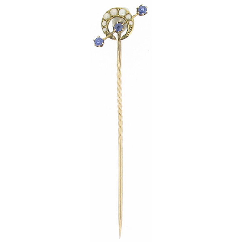 Pre-owned 15ct Gold Sapphire And Seed Pearl Crescent Pin
