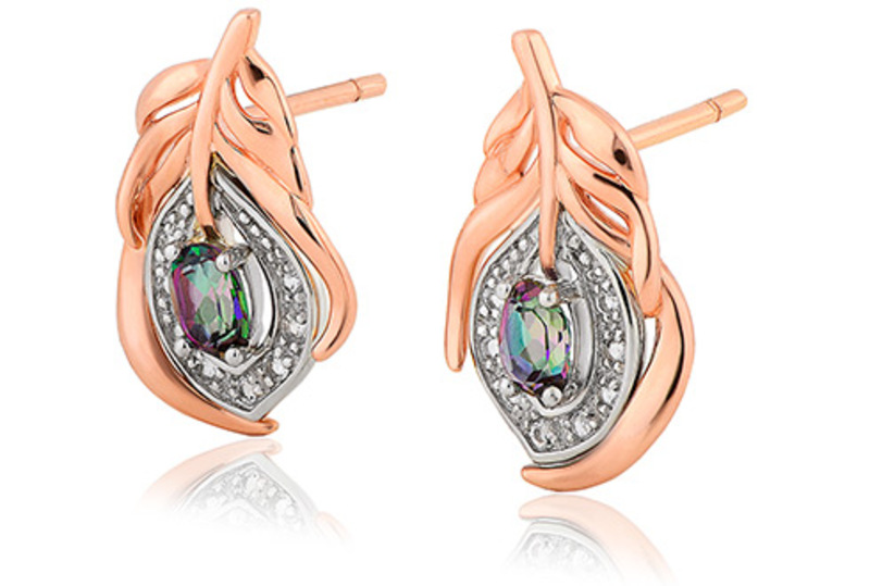 Clogau 9ct gold peacock throne topaz stud earrings