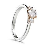 CERT Platinum and rose gold three stone diamond ring