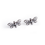 Henryka Miniature Bumble Bee Stud Earrings in Silver