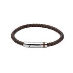 Unique&Co Antic Dark Brown Leather Bracelet steel clasp brown IP plating