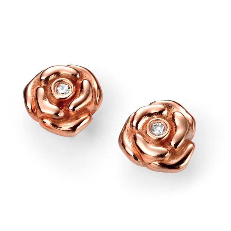 D for diamond silver rose gold plated rose childrens' earrings with post and butterfly fittings