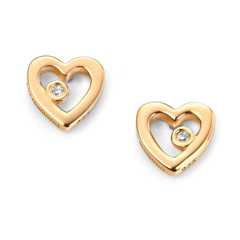 D for diamond silver gold plated cutout heart childrens' stud earrings, post and butterfly fittings