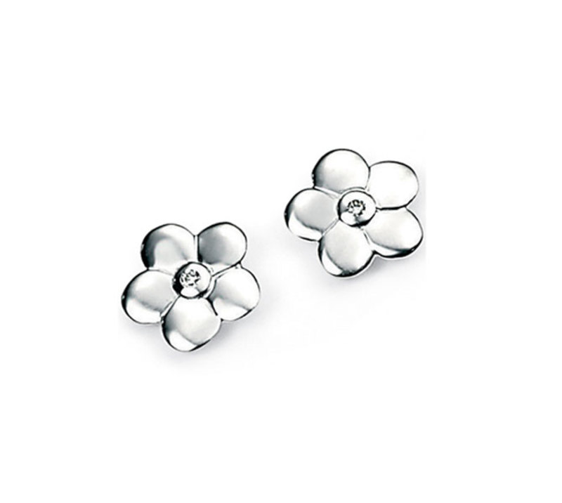 D for diamond silver childrens' flower stud earrings set with diamonds