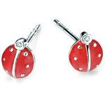 D for diamond silver red enamel ladybird childrens' stud earrings