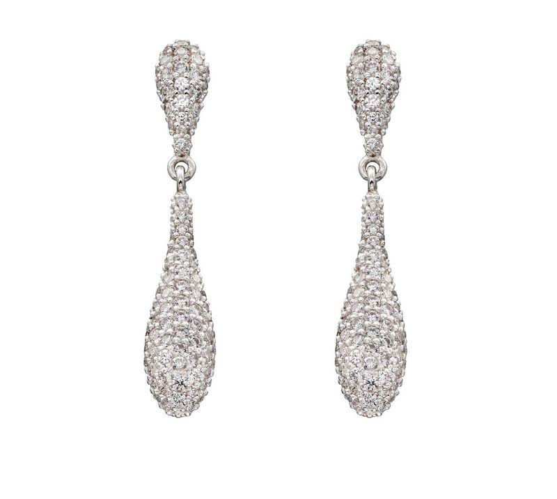 Elements Silver CZ Pave Long Drop Earrings