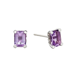Elements 9ct W/G Amethyst Stud Earrings