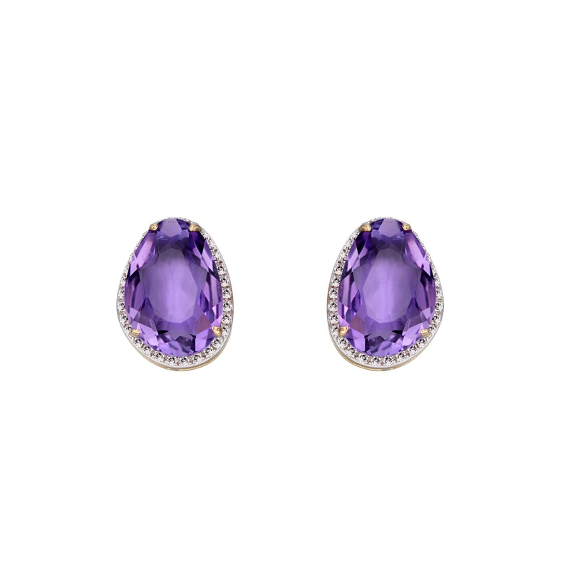 Elements 9ct Y/G Amethyst and Diamond Stud Earrings