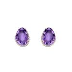 Elements 9ct Y/G Amethyst and Diamond Stud Earrings