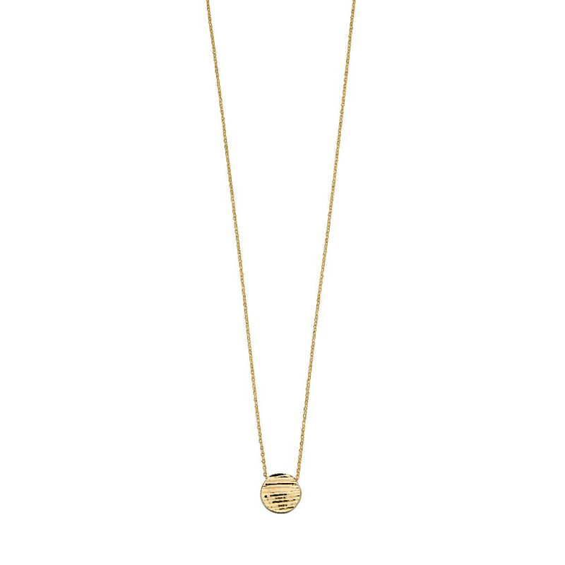 Gecko 9ct Y/G Textured Disc Necklace