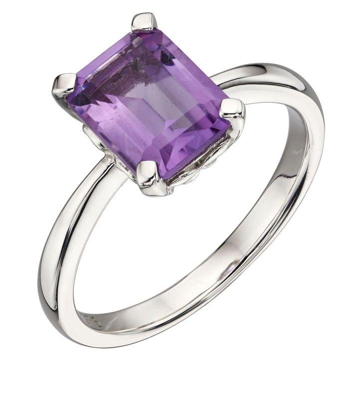 Elements 9ct W/G Amethyst Ring