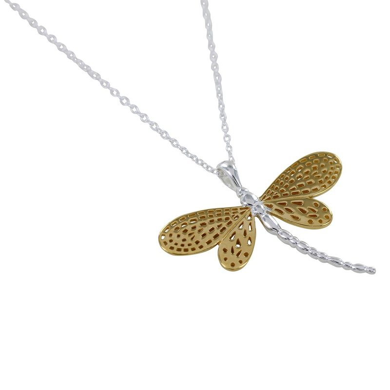 Silver Y/G Plated Dragonfly Pendant