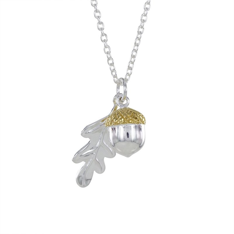 Silver and 18ct Y/G Plated Acorn Pendant