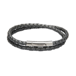 Unique & Co Ladies Silver Leather Bracelet 19cm
