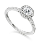 18ct White Gold Diamond Halo Engagement Ring