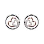 Unique & Co Silver Hearts r/g plating earrings