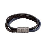 Unique & Co Black/Blue Leather Bracelet 21CM