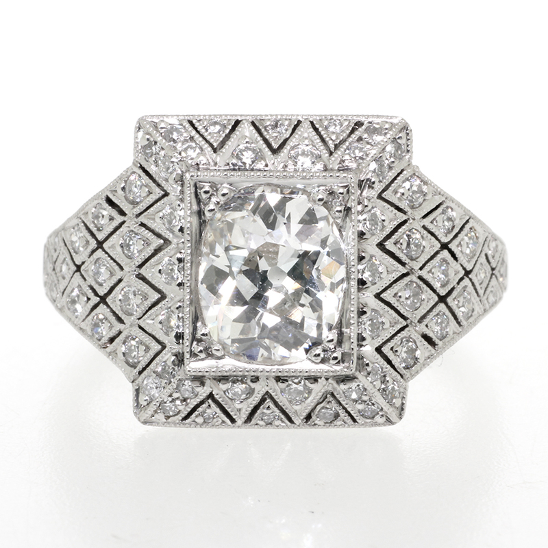 Pre-owned Art Deco Ring Oval set Diamond centre 1.30ct