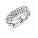 18ct White Gold Triple Row Diamond Set Ring