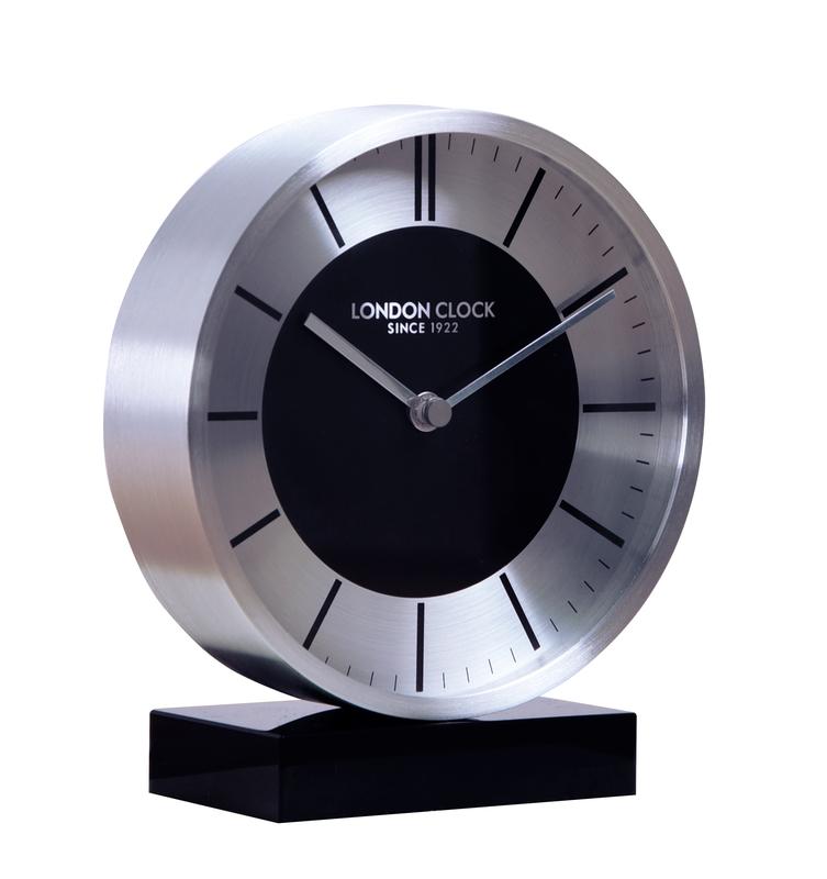 London Clock Company titanium; silver mantel clock