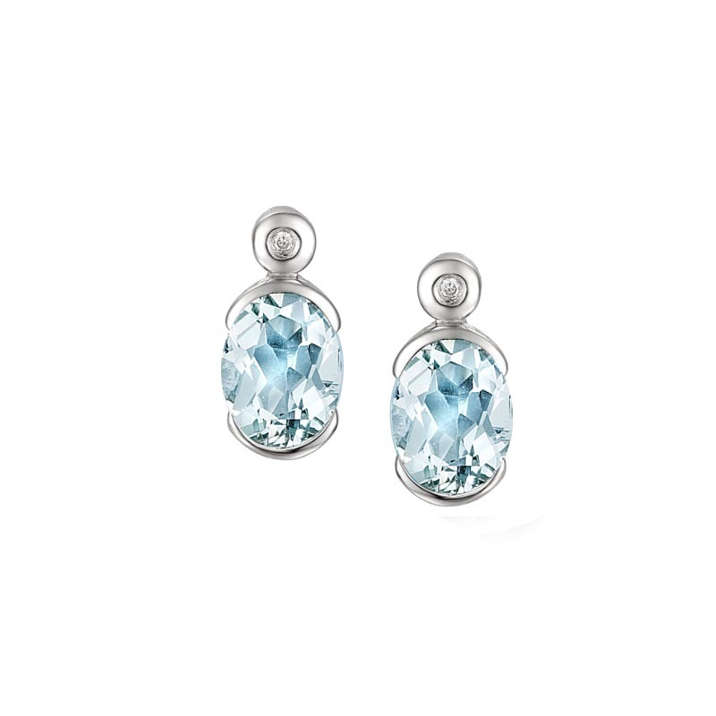 Amore 9ct white gold oval aquamarine and diamond earrings