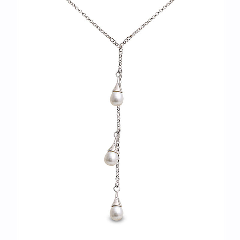 Perlissimo 8-8.5mm cultured freshwater pearl silver chain necklace