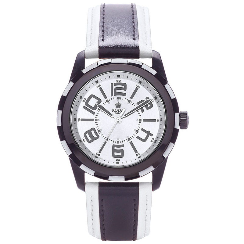 Royal London Gents White And Black Leather Strap Watch