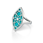 Fiorelli silver marquise shape open silver turquoise ring